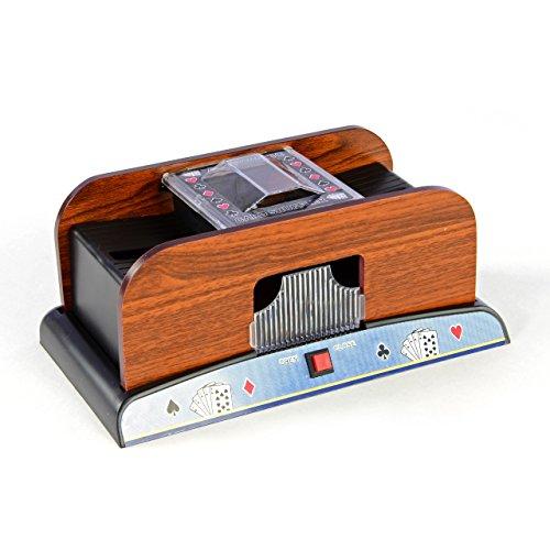Nexos Kartenmischmaschine Elektrischer Kartenmischer für 2 Decks Karten Mischer Poker Skat Rommé elektrisch Card Shuffler batteriebetrieben