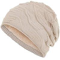 Compagno beanie warm gevoerde wintermuts elegant breipatroon beanie one size fits all, Kleur:Beige