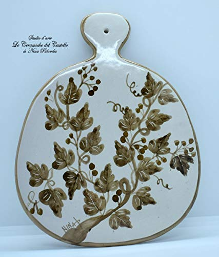 Sottopentola Tagliere Linea Edere Marroni Realizzato e dipinto a mano Le Ceramiche del Castello Made in Italy Pezzo Unico dimensioni 25,5 x 20 centimetri