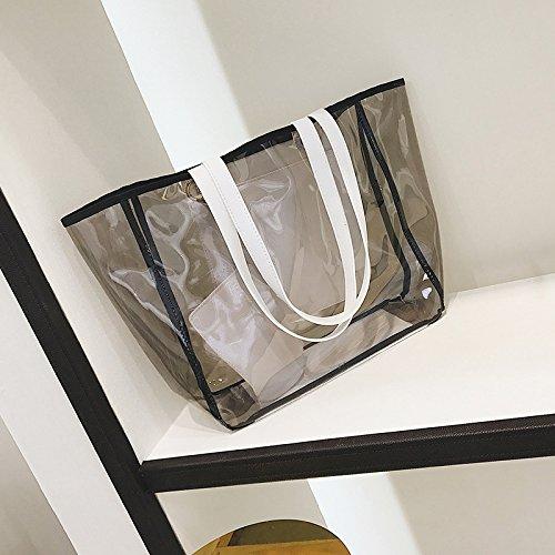Borsa a tracolla impermeabile trasparente moda mare,marrone White