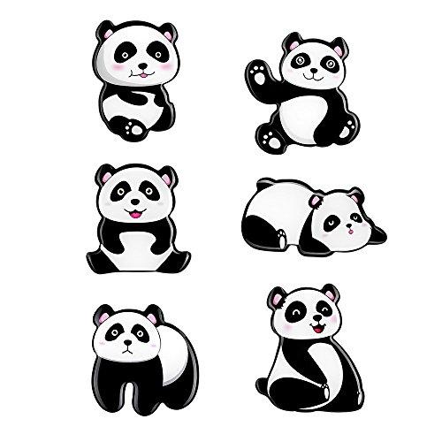 MORCART Kühlschrank Magnete Panda, Kühlschrankmagnet Set Lustige Deko Büro/Küche/Pinnwand/Kalender/Wohnung/Klassenzimmer/Tafel/Geschenk (Panda 6 pcs)