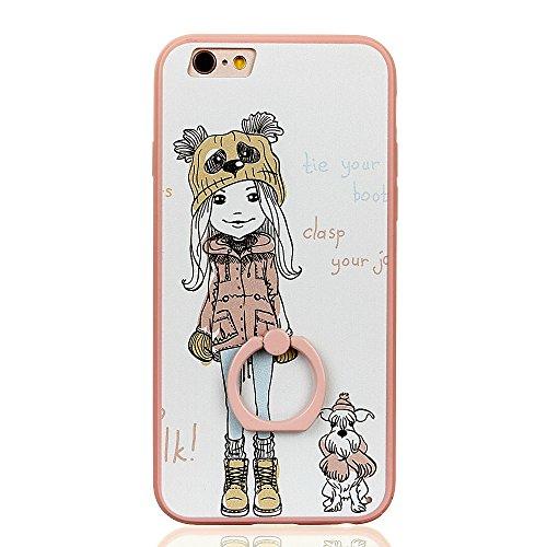 Voguecase Für Apple iPhone 7 4.7 hülle, Schutzhülle / Case / Cover / Hülle / TPU Gel Skin mit Ring Schnalle (Blau-Seelöwen) + Gratis Universal Eingabestift Pink-Mädchen und Hund