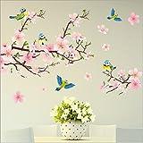 HALLOBO® Muursticker XL vogel bloemen perzikbloesem muursticker muursticker woonkamer slaapkamer deco muursticker