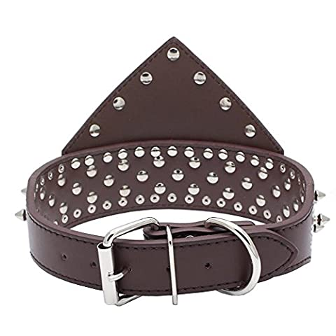 Dogs Kingdom 50,8 - 66 cm Longueur Triangle Collier Motif Argent à pointes rivets en cuir clouté Collier de chien Heavy Duty pour Medium Grandes races Pitbull Mastiff Boxer Bully