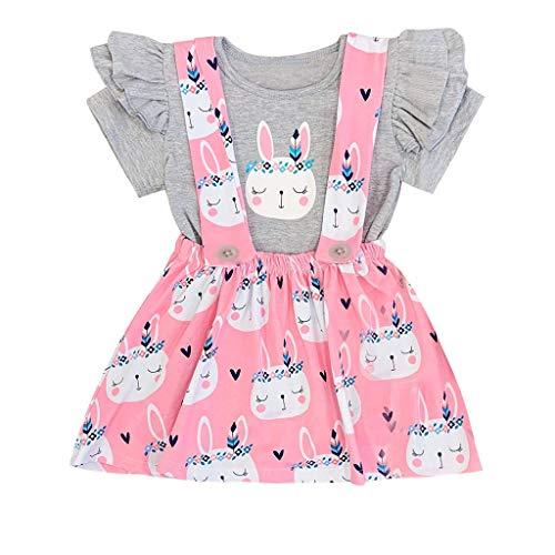 Mädchen kurzen Ärmeln Kleid Blumenstickerei Baumwolle Sommerkleid Ostern Hase Bunny Tops Print Rock Casual Outfits Set