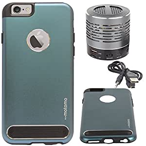 "DMG Motomo Ultra Tough Metal Shell Case with Side TPU Protection for Apple iPhone 6 (4.7"") (Gun Metal) + Wireless Bluetooth Speaker with Party LED Lights"