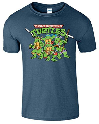 SNS Online Indigoblau - Jugend (M) Kinder 7-8 Jahre Teenage Mutant Ninja Turtles Kids Girls Boys Unisex T Shirt (Ninja Turtles Shirt)