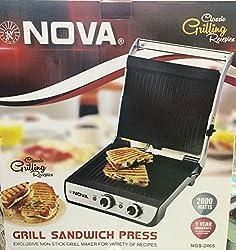Nova NGS-2465 2000-Watt Grill Sandwich Press With TIMER ( 2016 Latest Model)