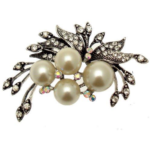 Acosta Jewellery Brosche, Antiksilberton, Vintage-Stil, Glaskristall, Perle &Blumen-Brosche,...