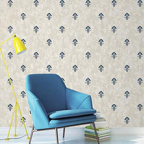 Tapete Einfache Vlies Wohnzimmer TV Hintergrund Wandpapier Schlafzimmer Mottled Europäische Kleine Blume Tapete (Farbe : Blau) (Einfach Halloween-handwerk Kleber Kein)