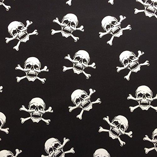 een gekreuzten Knochen Totenkopf Design 100% Baumwolle gedruckt Stoff für,, Kleid 152,4cm 150cm breit–Meterware (Schwarz Und Weiß Halloween)