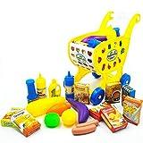 Aolvo, mini carrello per la spesa, per bambini, bambini e bambine, per imparare lo sviluppo, 18 pezzi, giocattolo, carrello della spesa e frutta, per la casa e la cucina (giallo)
