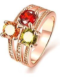 Yellow Chimes Multicolor Swiss Zircon Crystal Ring For Men & Women