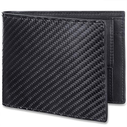 WinCret Portafoglio Uomo Vera Pelle in Fibra di Carbonio con Protezione RFID Portafoglio Uomo Slim Trifold Vera Pelle con Tasca Portamonete
