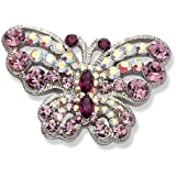 Jodie Rose Amethyst Colour and Aurore Boreale Crystal Butterfly Brooch
