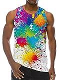 Chicolife 3D Bunte Farbe Drucken Lustige Muster Realistische Underwaist Gym Tank Tops für Herren X-Large