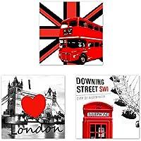 Dabixx I Love London - Lienzo Decorativo para Pared, Diseño de Londres, Lona,