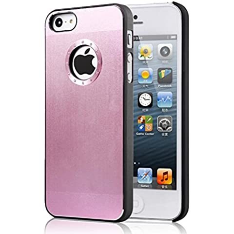 Alto Valor Iphone 5 / 5S Calidad simple rosa claro cepilló la caja de aluminio del diamante bling de la cubierta con el lado Negro Borde para el iphone 5 / 5S