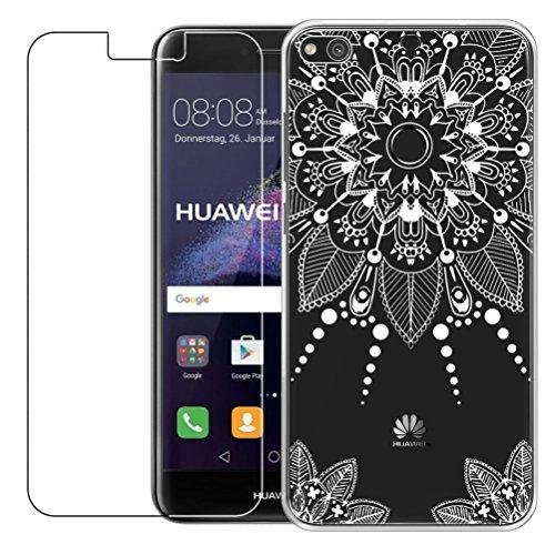Funda Huawei P8 Lite 2017 [con Protector de Pantalla de Vidrio Temperado] Blossom01 Ultra Fina de Gel de Silicona TPU Carcasa Huawei P8 Lite 2017 (Mandala)