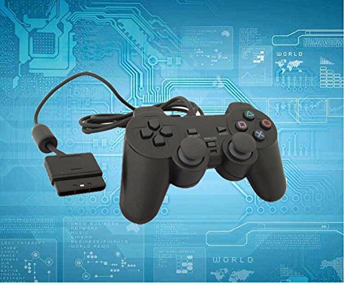 Controlador de juego para PS2 Vibración de choque con cable Playstation 2 (negro)
