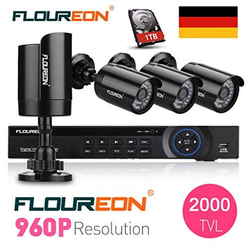 FLOUREON DVR Kit Videosorveglianza Sistemi Videocamera (8CH AHD 1080N DVR + 960P 1.3MP 2000TVL Bullet Camera + 1TB HD Preinstallato)
