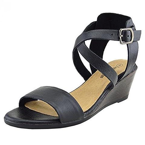 Kick Chaussures–Sandales à talons compensés confortable Cuir - noir - noir,