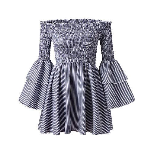 FJLOKE& 1 PC Womens Holiday Off Shoulder Stripe Party Ladies Casual Dress Long Sleeve Dress Autumn Summer Sukienka Damska Blue XXXL -