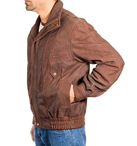 Hommes VŽritable Cuir Vintage Classic Retro Blouson Bomber Veste Manteau Marron