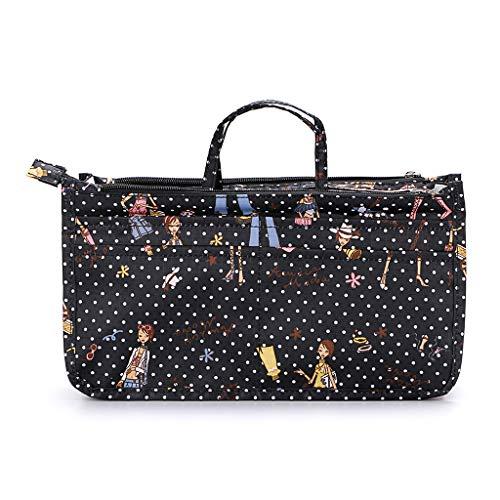 IGNPION Printed Insert Handtasche Organizer 13 Taschen erweiterbar Liner Bag Pouch Reißverschluss Tote Organizer Wickeltasche Insert mit Griff (Mädchen) -