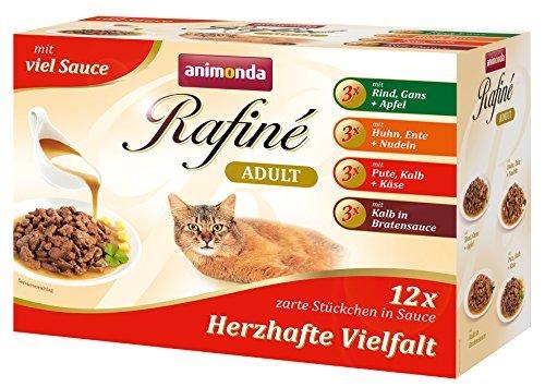 Animonda Rafine Adult Katzenfutter Herzhafte Vielfalt in Sauce, 4er Pack= (12x4)100g