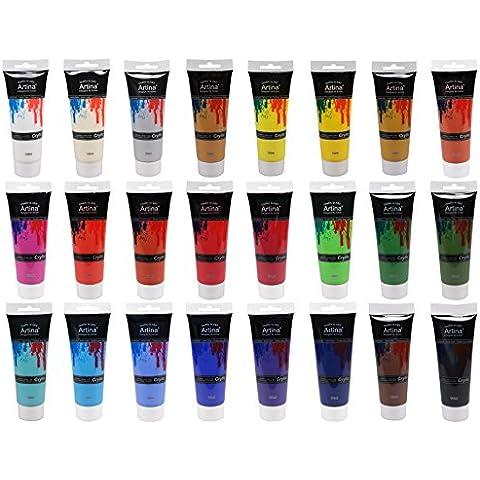 ARTINA® Kit da 24 colori acrilici - 120ml cad. - 24 tubetti - colori brillanti e luminosi per uso artistico
