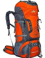 Mochila bandolera hombre doble montañismo al aire libre profesional gran capacidad bolsa , orange