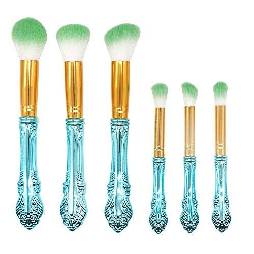 Cdet. 6Pcs Kit De Pinceau Maquillage avec Manche en Plastique Make Up Brush Ensemble Fondation Mélange Blush Yeux Visage Poudre Brosse Cosmétiques Série Fantastique Bleu