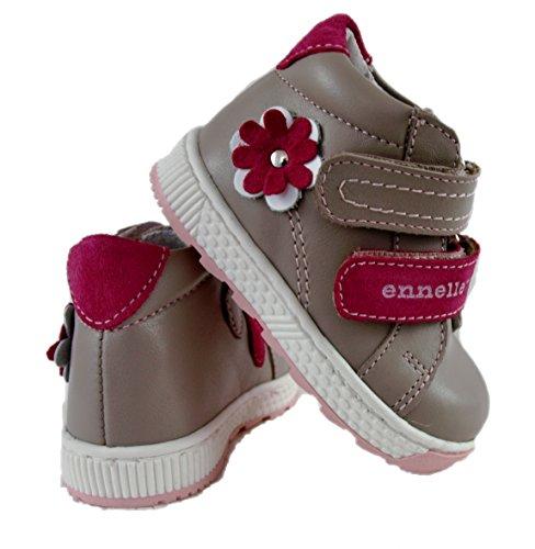 ennellemoo® -Baby-Kinder-Mädchen-echt Leder-Boots-Schuhe-Sneaker-Lauflernschuhe-Halbschuhe-Klettverschluss, weiche knöchelhohe Schuhe-PREMIUM-LUXUSSCHUHE - VOLLLEDER saharabeige/taupe/rose/rot