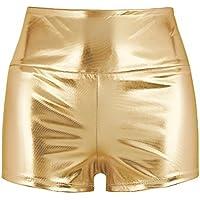 Freebily Pantalones Cortos de Cuero Sexy Shorts Mujer Verano Elastico de Danza Cintura Super Alta y Elástica