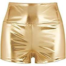 a67c3240a042 Freebily Damen Glänzend Shorts Metallic Hot Pants Eng Anliegend Leder-Optik  Shorts Minishorts Sport Ballett
