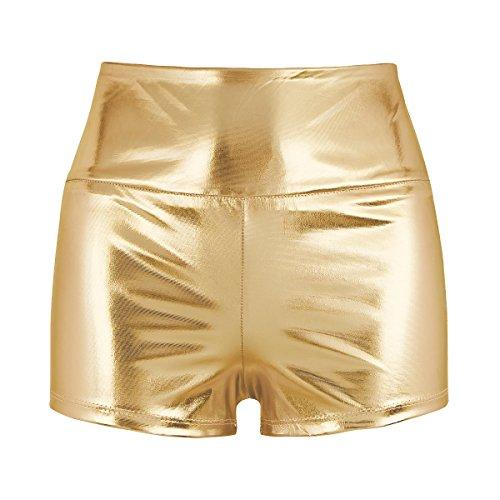 iEFiEL Damen Hotpants Kurze Sport Shorts Yogahose Sporthose Tanz Gymnastik Bekleidung Casual Freizeit Shorts Ouvert-Panty Fitness Gold - Nike Pro Kostüm
