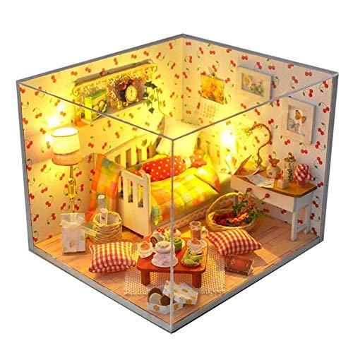 LED Puppenhaus Miniatur mit Möbeln,Idee DIY Hölzernes Puppenhaus-Kit Sowie staubdicht,für Geburtstag Weihnachts Geschenk Den Valentinstag Geschenk,15 * 13.5 * 12cm