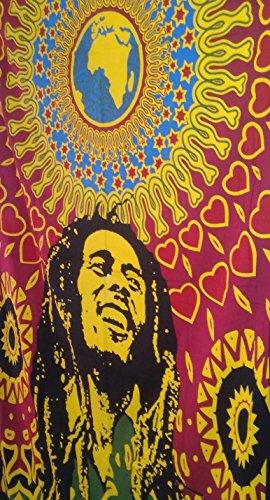 Bob Marley Wandbehang Wandteppich, indische Baumwolle Bettwäsche, Boho Picknick Werfen, Hippie Schlafsaal, Zimmerdekoration Bohemian Wandbehang, Gypsy Strand Decke (Hippie Decke Werfen)