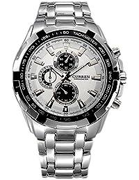 Reloj de hombre - CURREN Reloj de pulsera de acero inoxidable de hombre (Correa de plata & Esfera Blanca&puntero de plata)