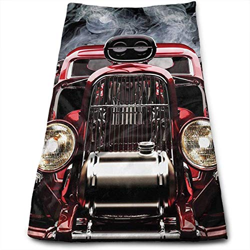 DDHHFJ American Hot Rod Roadster with Smoke Background Soft Large Hand Towel- Multipurpose Bathroom Towels for Hand, Face, Gym and Spa