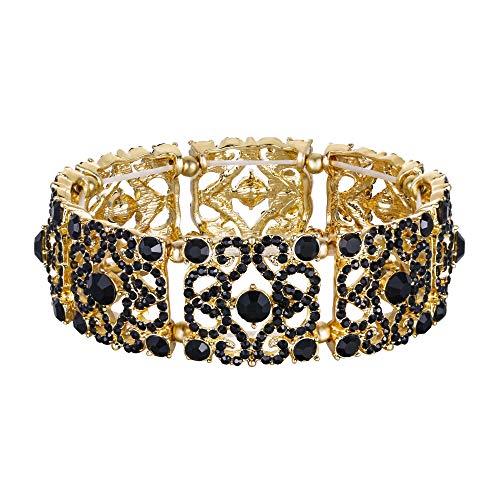 stall Hochzeit Braut Retro Blume Stretch Armband Schwarz Gold-Ton ()