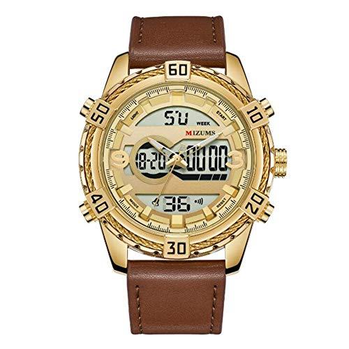 YK WATCH Men's Orologio Sport 30m Impermeabile LED Allarme Visualizzazione settimanale Visualizzazione Mese Istruzioni di 24 Ore,Gold