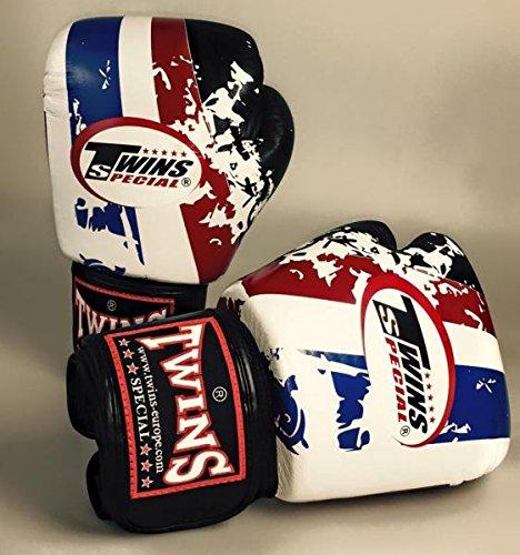 TWINS Thai Flag 10 UZ Boxhandschuhe Leder Rindsleder schwarz weiss blau rot Unzen OZ Box-Handschuhe Glover Muay Thai Thaiboxen