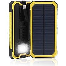 15000 mAh, Dual USB Cargador Solar portátil Backup Power Bank para exteriores de Panel Solar Cargador con LED de luz de emergencia para iPhone Samsung HTC y otros Smartphone(Amarillo)