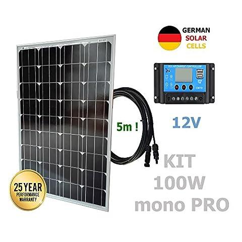 Kit 100W PRO 12V panneau solaire monocristallin cellules allemandes