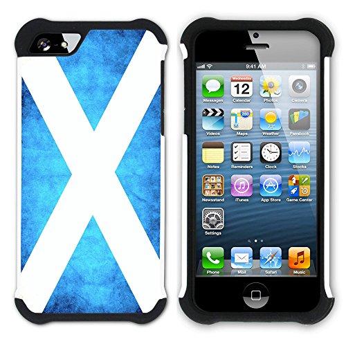Graphic4You Schottland Schottisch Flagge Hart + Weiche Kratzfeste Hülle Case Schale Tasche Schutzhülle für Apple iPhone SE / 5 / 5S Design #1