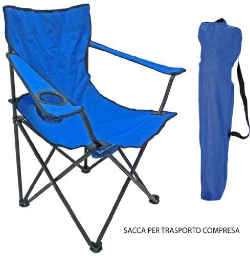 Sedia Poltrona per spiaggia mare campeggio pescatore blu con sacca
