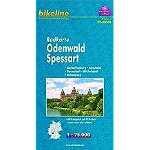 Radkarte Odenwald, Spessart, Aschaffenburg - Bensheim - Darmstadt - Michelstadt - Miltenberg, RK-HES08. 1 : 75 000, wasserfest/reißfest, GPS-tauglich mit UTM-Netz