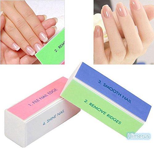 prochive 5x Nail Art Shiner Buffer 4Möglichkeiten Polish Schleifen Datei Block Maniküre Produkt, Nail Art Pflege Schleifblock Körnung Acryl Werkzeug -